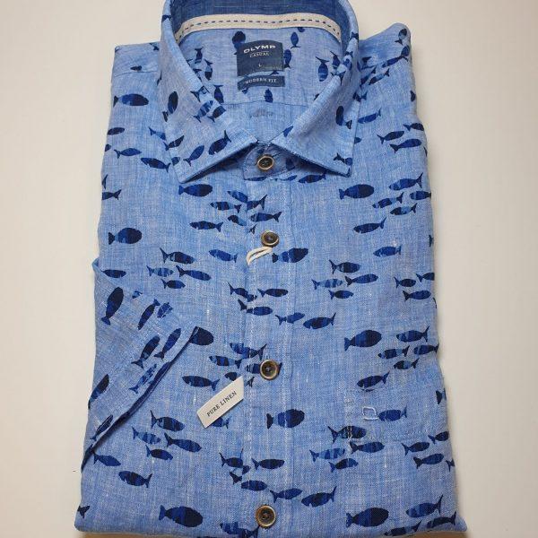 Blaues Kurzarm Hemd für Männer mit Fischen von Oly