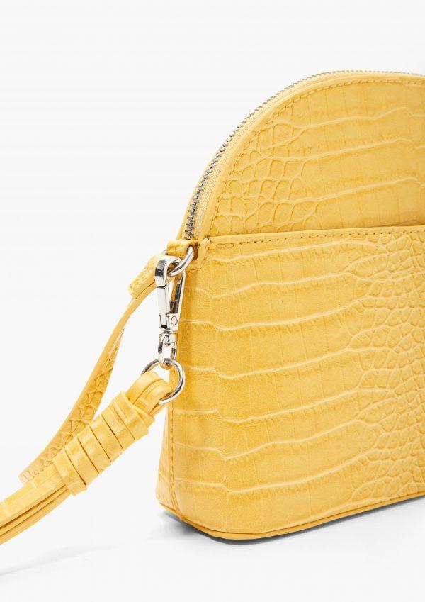 Gelbe Handtasche in Krokooptik mit langem Henkel von S.Oliver