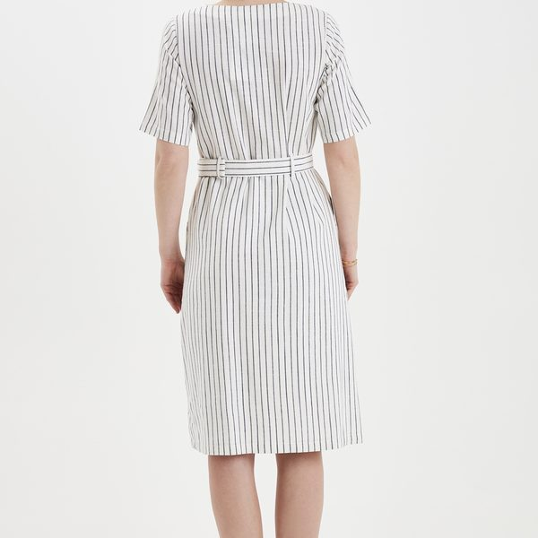 Kleid mit Nadelstreifen aus Baumwolle und Viskose