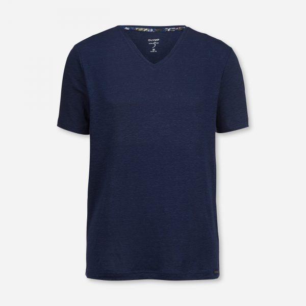 Leinen-Shirt mit V-Ausschnitt von Olymp