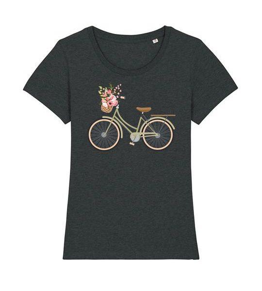 Graues Damen T-Shirt mit Fahrrad