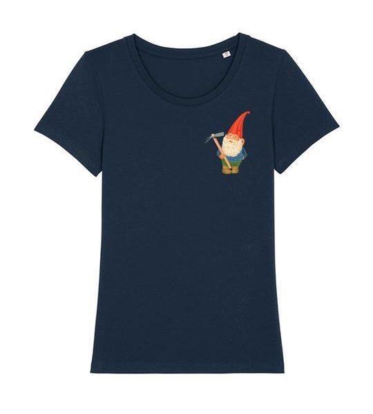 Blaues Damen T-Shirt mit Gartenzwerg