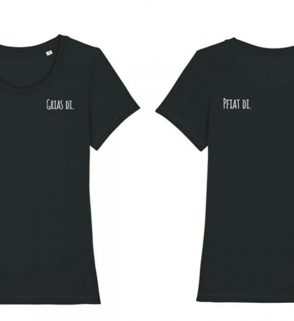 Schwarzes Damen T-Shirt mit Schriftzug Grias di vorne und Pfiat di am Rücken
