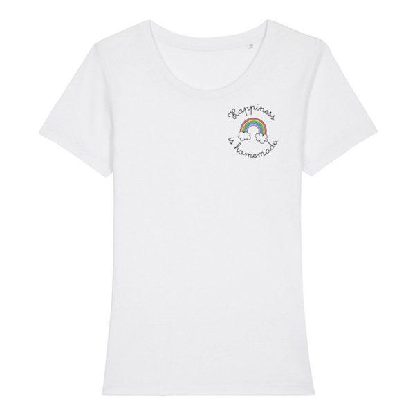 Weißes Damen T-Shirt mit Schriftzug Happiness is homemade