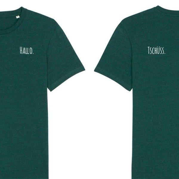 Grünes Herren T-Shirt mit Schriftzug Hallo vorne und Tschüss am Rücken