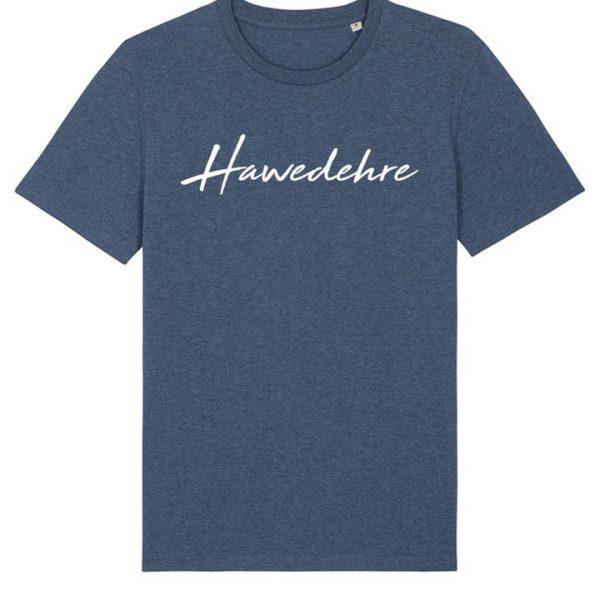 Blaues Herren T-Shirt mit Schriftzug Hawedehre