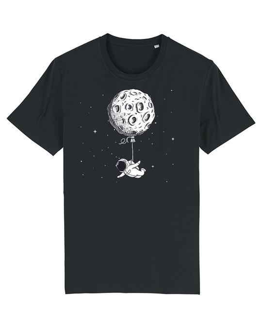 Schwarzes Herren T-Shirt mit Planet und Raumfahrer