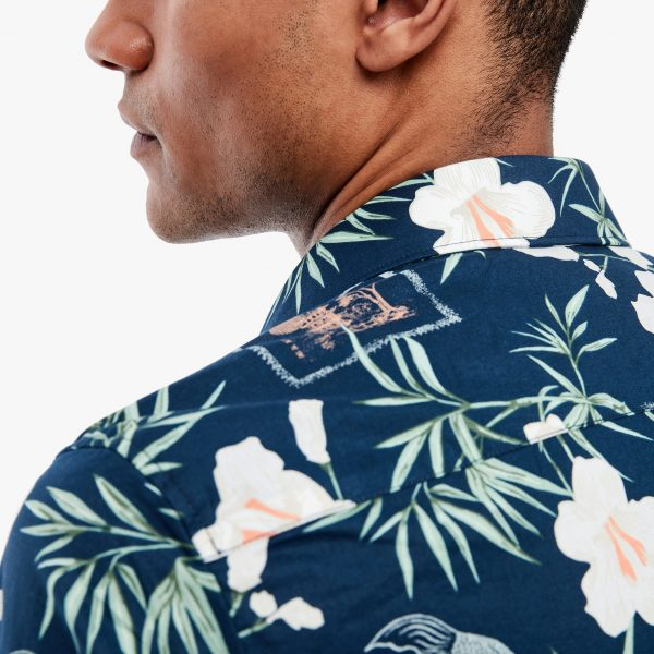 Herren Kurzarm-Hemd mit Blumenprint