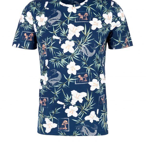 Herren Rundhals-Shirt mit Blumenprint