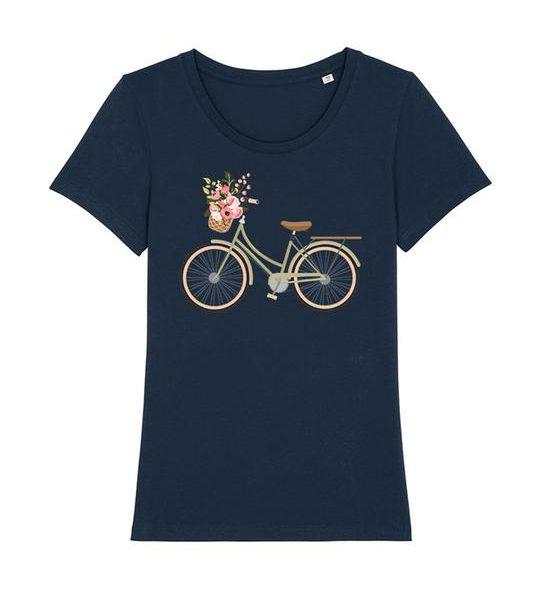 blaues Damen T-Shirt mit Fahrrad