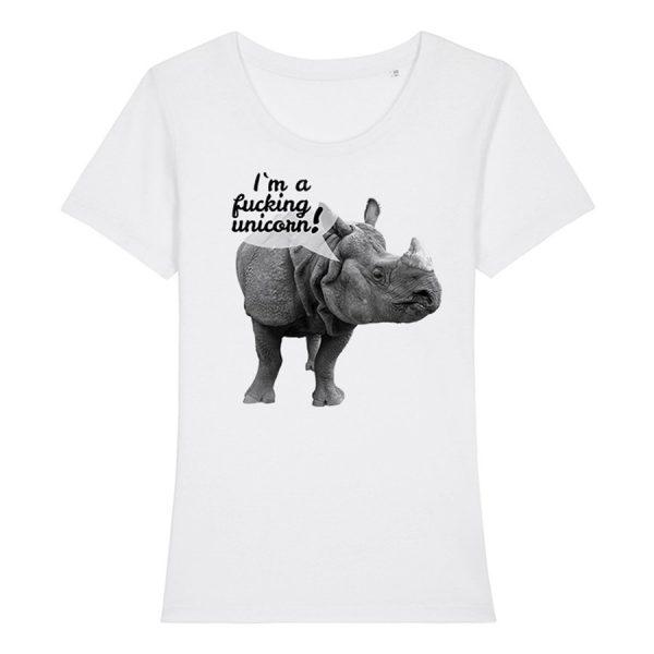 weißes Damen T-Shirt mit Nashorn